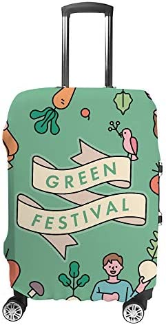 スーツケースカバー 緑の日 伸縮素材 キャリーバッグ お荷物カバ 保護 傷や汚れから守る ジッパー 水洗える 旅行 出張 S/M/L/XLサイズ