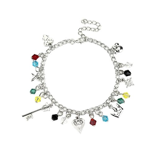 Kingdom Hearts 7 Charms Lobster Clasp Bracelet in Gift Box by Superheroes]()