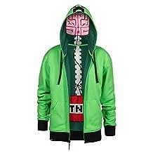 Minecraft Creeper Anatomy Men's Green Premium Zip-Up Hoodie, XX-Large