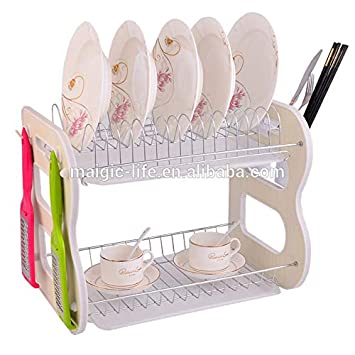 Eqons 2 Tier Dish Rack And Drain Board Kitchen Chrome Cup Basket