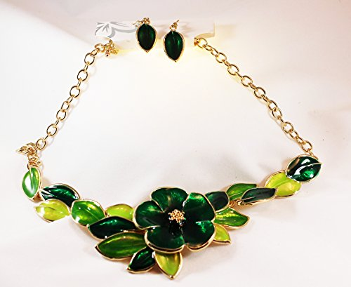 Enameled Metal Green Leaves and Flower Bib Torque Necklace with Matching (Enameled Flower Necklace Earrings)