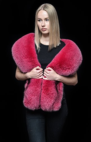 Genuine Rose Pink Blue Fox Fur Handmade Stole Boa Shawl Shoulder Wrap by Your Furrier