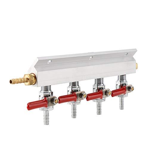4 Way Beer Air Manifold, CO2 Manifold -Muti-Way Home Co2 Air Gas Manifold Distribution Splitter (Co2 Source Air)