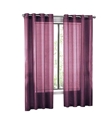 GoodGram 2 Pack Ultra Luxurious High Woven Elegant Sheer Grommet Curtain Panels - Assorted Colors (Plum) - Woven Plum