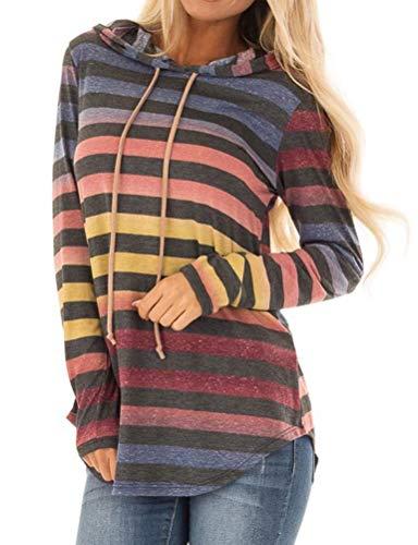 - ZJP Women Long Sleeve Stripe Print Drawstring Hoodie Asymmetric Hem Sweatshirt