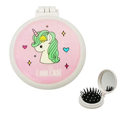 Folding Hair Brush, Pink Pop Up Hair Detangler Brush with Pocket Compact Mirror Bristle Massage Cushion Brush Collapsible Hairbrush for Kids Girls Makeup Travel Birthday Gifts, Unicorn Hair Brush