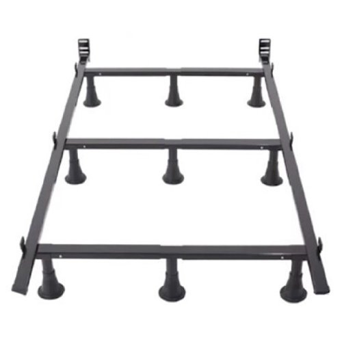 (Sturdy Metal Bed Frame with 9 Legs and Headboard Brackets (Twin))