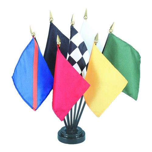 Auto Racing Flag Set (7 Flags) Rayon On Staff 4 in. x 5 in.