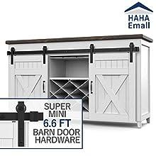 Hahaemall Home Decorative Steel Roller Super Mini Sliding Barn Door Track Hardware Rolling Storage Cabinet Kit (6.6FT Double Kit)