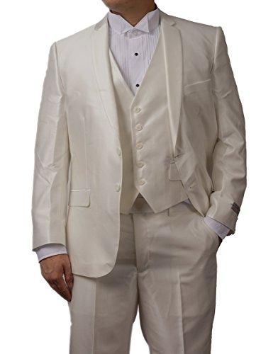 (TAZIO New Mens 3 Pc (Jacket, Pants & Vest) Shiny Off White Sharkskin Slim Fit Dress Suit (42L))