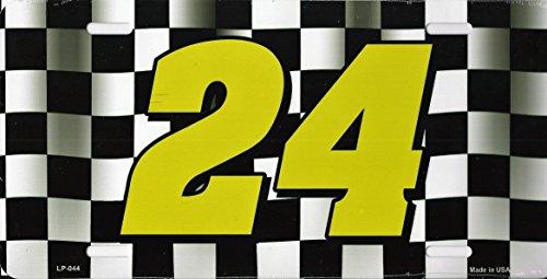 Chase Elliott Jeff Gordon #24 Aluminum Metal Vanity License Plate (Black Checkered)
