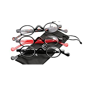 SOOLALA 3 Pairs Cute Small Round Plastic Spring Heeled Magnifying Reading Glasses, +1.0D