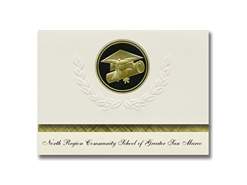 Signature Announcements North Region Community School Of Greater San Marco Graduation Announcements  Presidential Elite Pack 25 W  Gold   Black Cap Diploma Seal