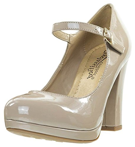 Chunky Mary Janes - City Classified Women's Ankle Strap Platform Stacked Chunky Heel Mary Jane (9 B(M) US, Dark Beige Patent)