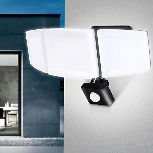 FOMYHEARD 40W LED Strahler mit Bewegungsmelder Außen 3 Köpfe 4200LM Superhell Außenstrahler IP65 Wasserdicht LED Scheinwerfer aussen 6500K LED Außenstrahler Flutlicht für Innenhöfe Garage Garten