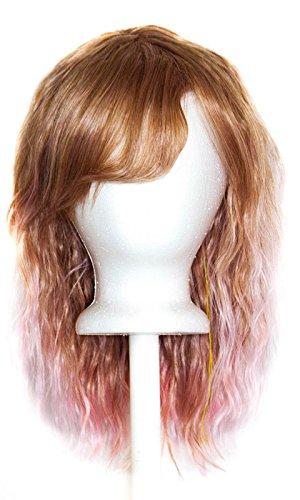 Mari - Auburn Brown Fade Cotton Candy Pink Wig 14'' Crimped Shoulder Length w/ Short Bangs