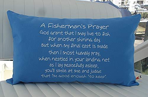 Capri Pillowcases - alerie Sassoon A Fishermans Prayer 12 x 20 Lumbar Pillowcase Cover Indoor Sunbrella Canvas Capri Fishing Boating Canvas