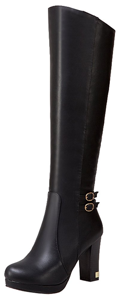 SHOWHOW Women's Casual Platform Knee High Chunky Heel Boots Black 7 B(M) US