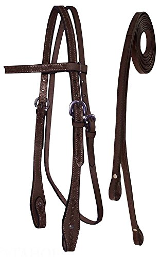 Tahoe Tack Barbwire Leather Western Hand Tooled Browband Headstall with Matching Split Reins, Draft, Mahogany