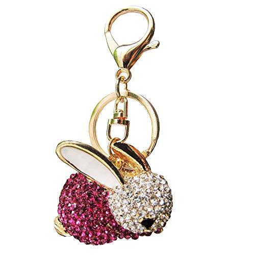 Bolbove Cute Bunny Sparkling Charm Blingbling Rabbit Keychain Crystal Rhinestone Pendant (Pink)