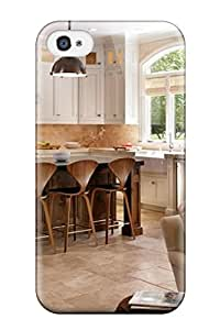 Fashion Tpu Case For Iphone 4/4s- Warm White Kitchen With Modern Barstools Defender Case Cover