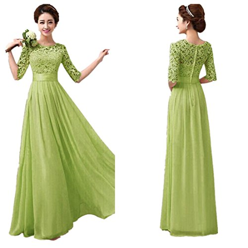 Sunward Women's Boat-Neck Solid Three-Quarter-Sleeve Long Gown Dress, Green, XX-Large Petite