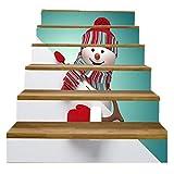 FLFK 6Pcs/Set 3D Christmas Snowman Staircase Stickers PVC Self-Adhesive Xmas Home Decorative