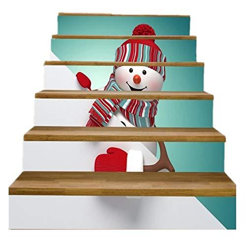 FLFK 3D Christmas Tree Snowman Wallpaper Self-Adhesive Stair Stickers Xmas Murals Home Decor 39.3Inch x7.08Inch x 6PCS(GXL287)
