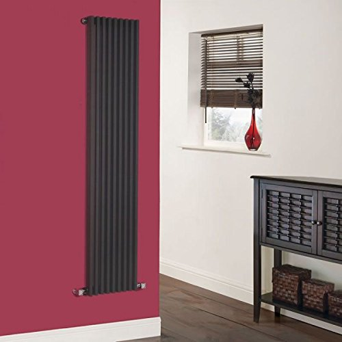 Hudson Reed - Parallel Vertical Single Designer Radiator With Fixing Brackets & Valves Included In Gloss Black - 63