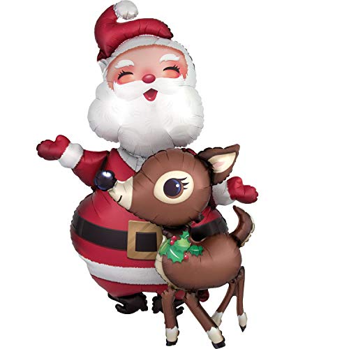Anagram Santa Claus and Reindeer Huge Air Walker Foil Balloon for Christmas Party, 48