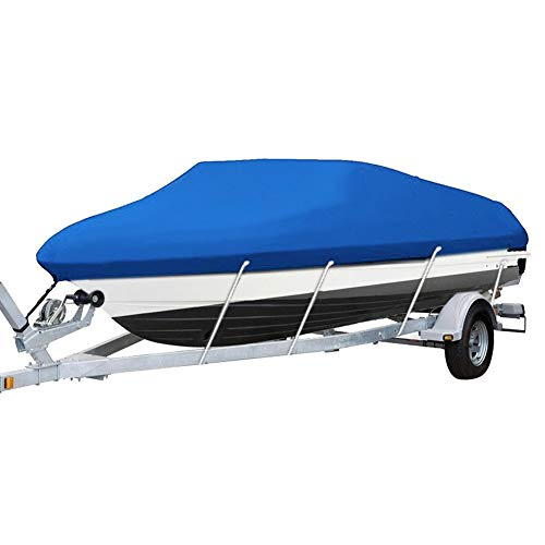 RINTOWA Heavy Duty 210D Marine Grade Polyester Canvas Trailerable Waterproof Boat Cover, Fit V-Hull 14-16FT Tri-Hull Trailerable Fish SkiBoat, Blue Boat Cover with Storage Bag & Rope Waterproof