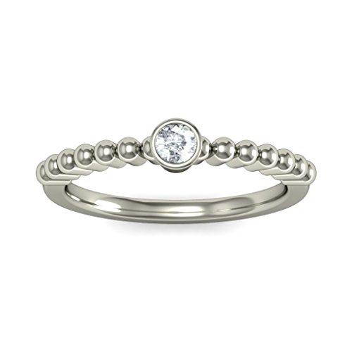 14K Or blanc, 0.06carat Diamant Taille ronde (IJ | SI) en diamant