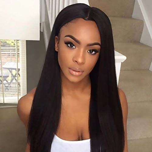 ORIGINAL QUEEN Lace Front Human Hair Wigs Straight Wig with Pre Plucked Hairline 13x4 Lace Frontal Wigs Black Color 16inches