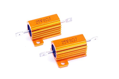 - LM YN 25 Watt 8 Ohm 5% Wirewound Resistor Electronic Aluminium Shell Resistor Gold for Inverter LED lights Frequency Divider Servo Industry Industrial Control 2-Pcs