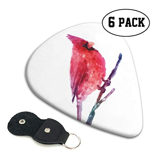Guitar Picks 6 pcs,Watercolor Cardinal Artistic Display Winter Season Wildlife Christmas - Pumpkin Cardinals