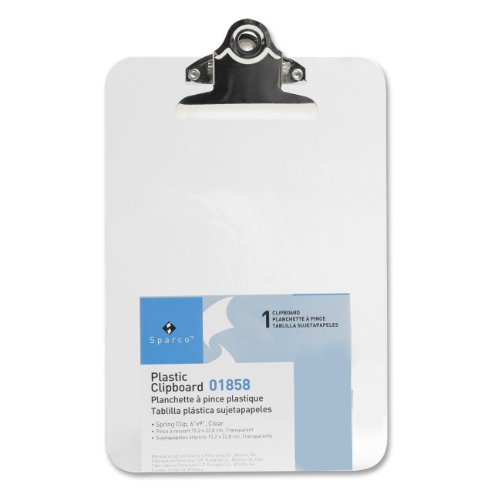 S.P. Richards Company Transparent Plastic Clipboard, 6 x 9 Inches, Clear (SPR01858)