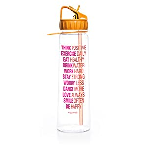 30oz Inspirational Fitness Workout Sports Water Bottle with Time Marker | Measurements | Goal Marked Times Bottle For Measuring Your H2O Intake, BPA Free Non-toxic Tritan (Orange Tangerine)