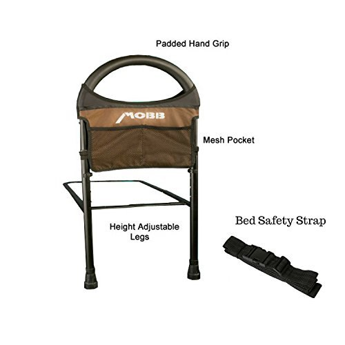 Mobbility Bed Assist Rail for Bed- Adjustable, Fits All Types of Beds| Includes Safety Strap to affix to bed | Includes Mesh Storage Pockets | 250lb Weight ()