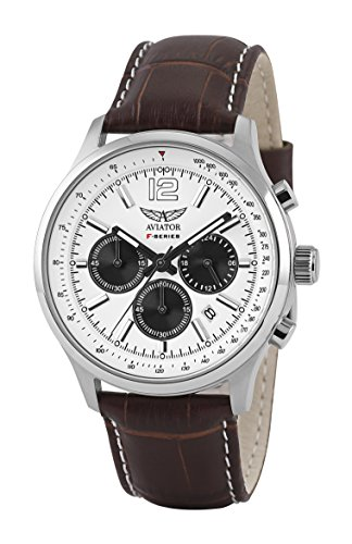 Aviator Pilot Chronograph Watch - Aviator Watch for Men Aviation Classic Quartz Flight Series Aviators Collection Cronograph Brown Strap Waterproof 5 Atm Pilot Wristwatch