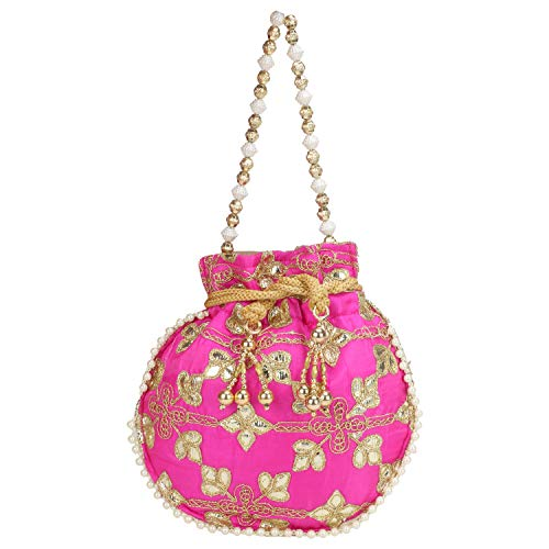(Indian Ethnic Designer Embroidered Silk Potli Bag Batwa Pearls Handle Purse (Queen))