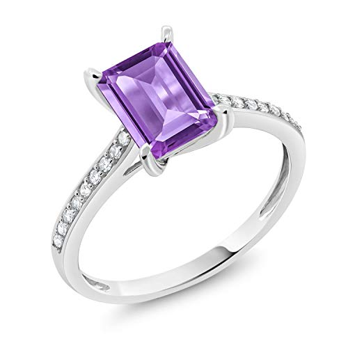 - 10K White Gold Purple Amethyst and White Diamond Engagement Ring 1.63 Ctw Emerald Cut (Size 9)