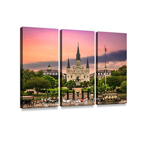 Jackson Square New Orleans Print On Canvas Wall Artwork Modern Photography Home Decor Unique Pattern Stretched and Framed 3 Piece ()