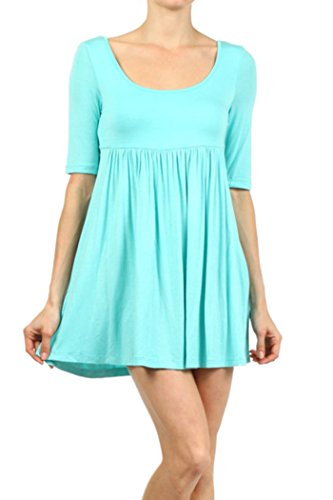 HEO CLOTHING Women's Plus & Regular 3/4 Sleeve Casual Solid Tunic Top Mini T Shirt Dress Made In USA (Aqua, S)