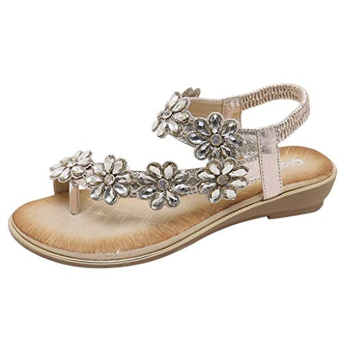 (Women's Summer Casual Fashion Rubber Sole Rhinestone Comfort Elastic Flat Flower Sandals Shoes Gold)