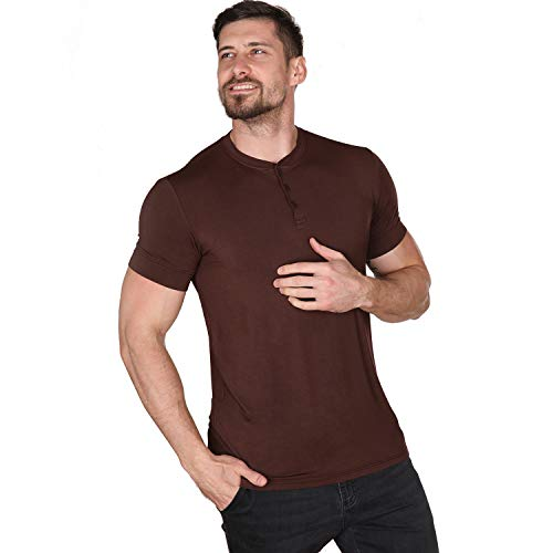 Men Casual T Shirt V Neck Short Sleeve Henley Shirts Cotton Underwear Button Loose Slim Fit Sport Workout Outdoor Wear Gym Beach Party Hiking Travel Business Working Autumn High Elasticity Brown