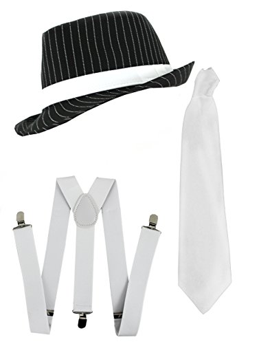 [Ilovefancydress Men's Gangster Set Fancy Dress Accessory Costume Deluxe Kit Pinstripe Trilby Hat + White Braces + White Tie Mob Gangster Men Al Capone One Size Black/] (Costumes Braces)