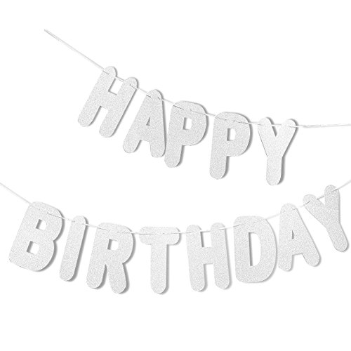 Happy Birthday Streamer (Silver Happy Birthday Letter Banner - Hanging Party Decoration Backdrop - Large Pre-Strung Glittery Birthday Sign Garland, 10.5 Feet Long)