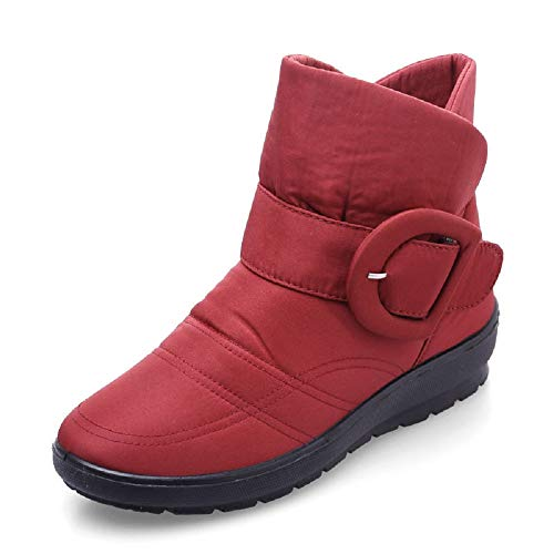 Gaslinyuan Women Waterproof Ankle Buckle Slip on Flat Boots (Color : Red, Size : UK 3.5)