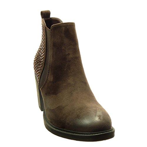 Angkorly - Scarpe da Moda Stivaletti - Scarponcini chelsea boots donna strass Tacco a blocco tacco alto 7 CM - Marrone
