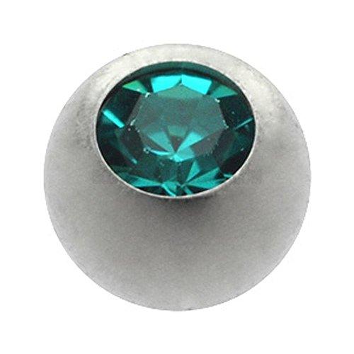 Titanium Threaded Jewelled Balls - Ti-Glo - Blue Zircon 4mm ()